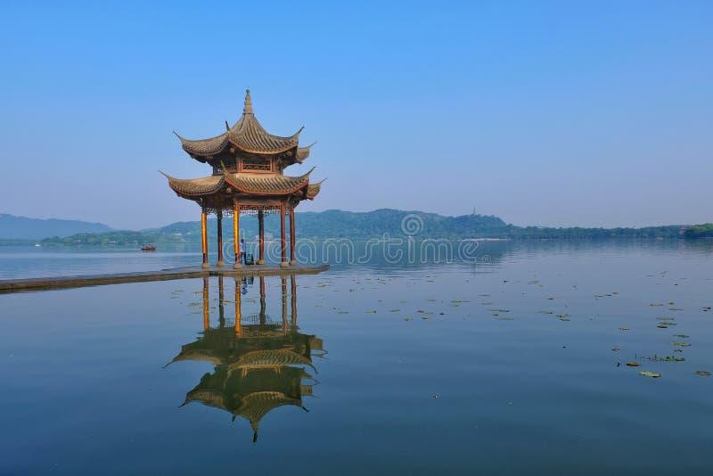 Hangzhou West Lake, Zhejiang, China 杭州. Early morning walk along the touristy Hangzhou West Lake stock photos