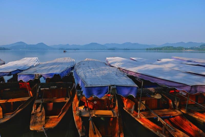 Hangzhou West Lake, Zhejiang, China 杭州. Early morning walk along the touristy Hangzhou West Lake royalty free stock image