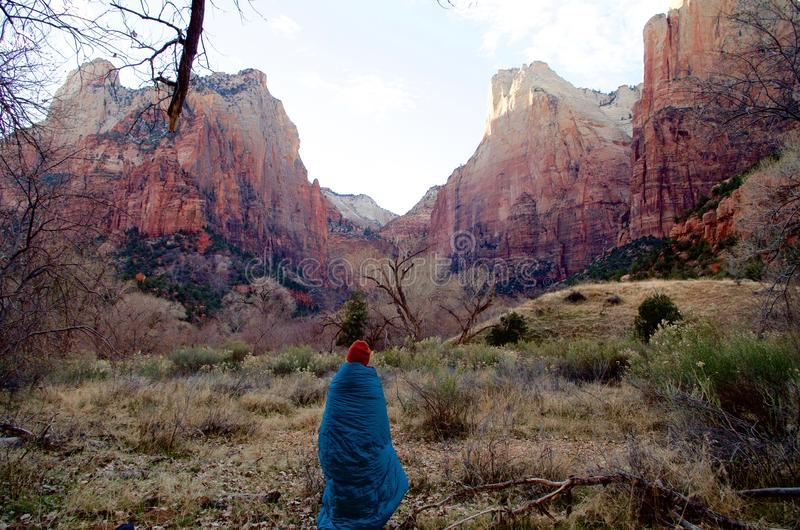 Chilly Early Winter Morning in Zion National Park, Utah, USA royalty free stock images