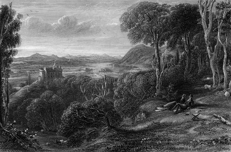 Old Illustration of Historic Landscape of Lowland Scotland. Early nineteenth century engraving showing historic Kenmure Castle and landscape,  Kirkcudbrightshire stock illustration