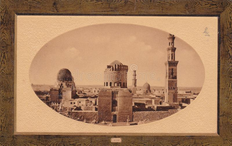 Photo postcard of Cairo`s skyline, Egypt 1900s stock photography