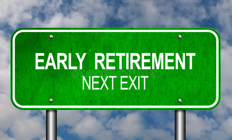 Early Retirement Road Sign stock illustration