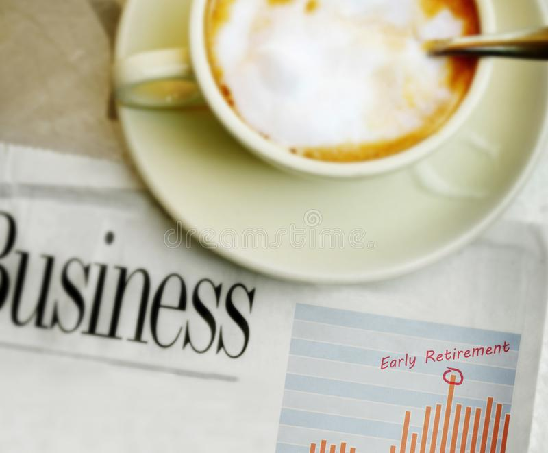 Early Retirement stock chart and coffee stock photos