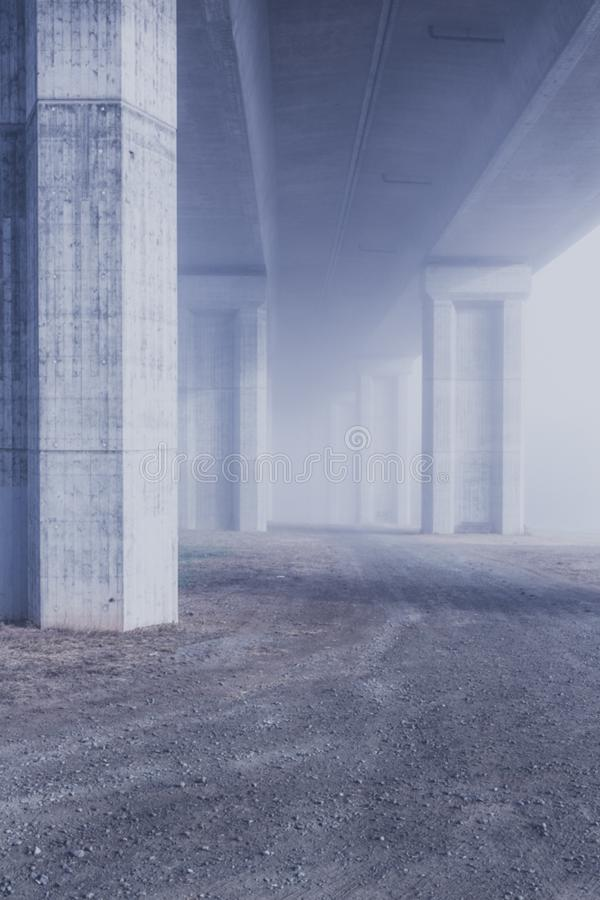 early rope fog motorway bridge stock photography