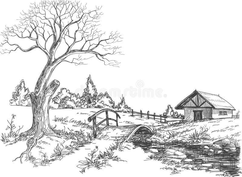 Early spring landscape vector illustration