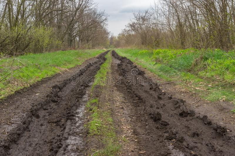 Landscape with ruts on dirty road. Early spring landscape with ruts on dirty road stock photos