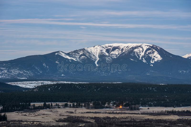 early spring morning at columbia river valleynear Radium Hot Springs with rocky mountains on the background stock photos