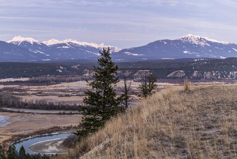 Early spring morning at columbia river valleynear Radium Hot Springs with rocky mountains on the background. Canada, sky, nature, landscape, forest, british royalty free stock image