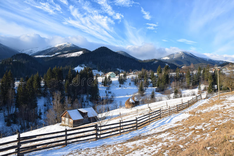 Early spring morning in mountain village royalty free stock photography