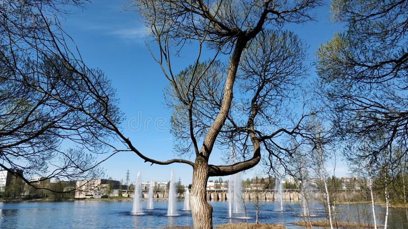 Early spring, park view, Finland. Spring,  ,, finland, earlyspring, fountains stock photos