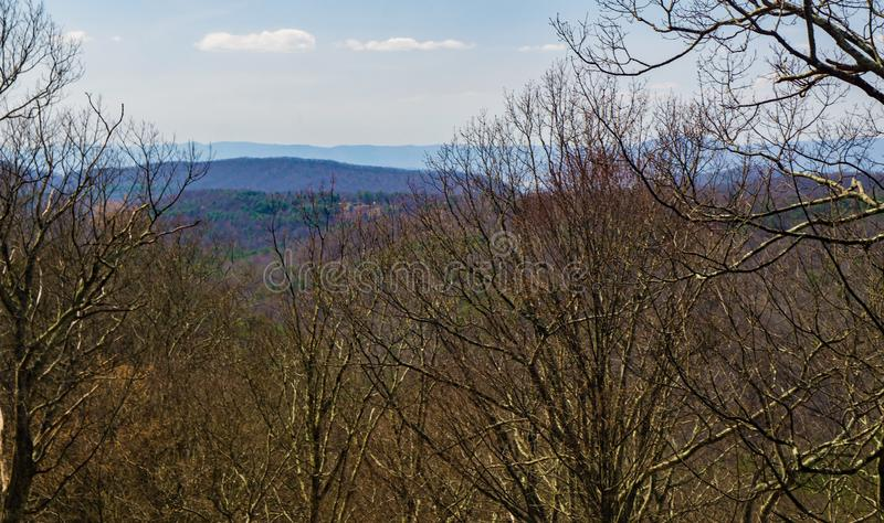 View the  Blue Ridge mountains. An early spring view of the Blue Ridge Mountains from the Blue Ridge Parkway located in Virginia, USA royalty free stock images