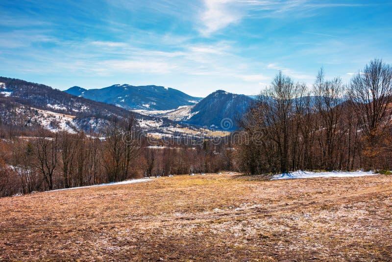 Early springtime in mountainous countryside stock photos