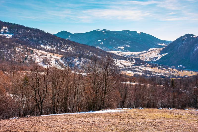 Early springtime in mountainous countryside stock photography