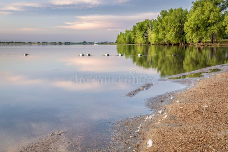 Early summer morning on swimming beach. Early summer morning in Boyd Lake State Park, Colorado with an empty swimming beach royalty free stock image