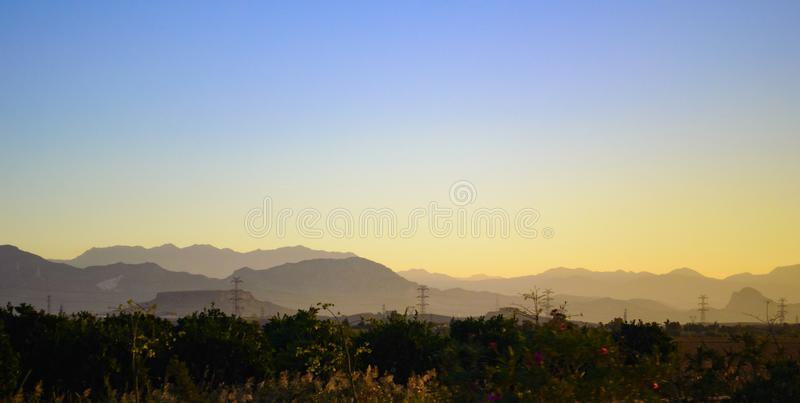 Early sunrise in the mountains stock photos