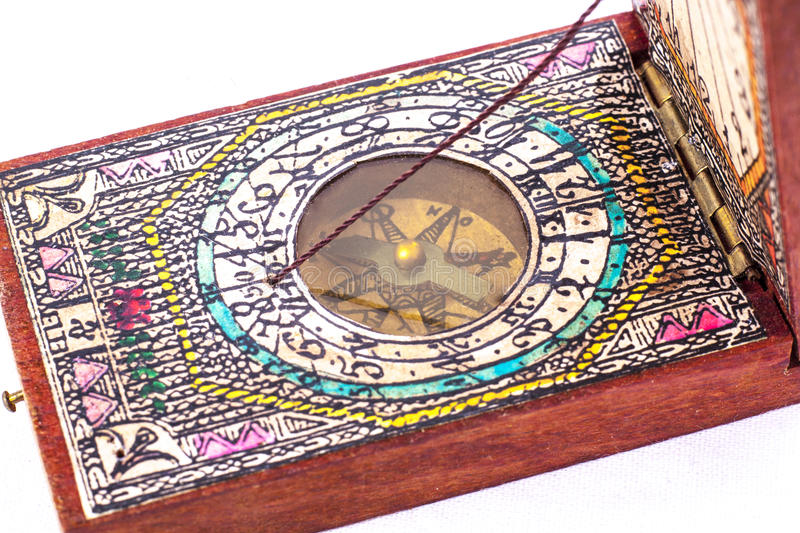Early 18th Century Compass in Wooden Box stock photo