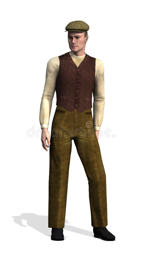 Early 20th Century Working Class Man. A man wearing typical working class clothes in the early 20th century - 3d render royalty free illustration