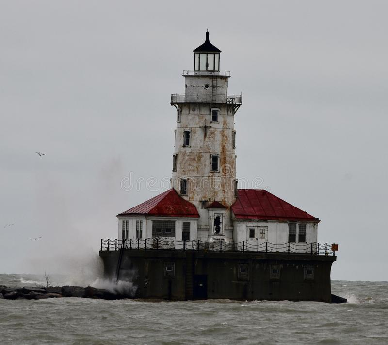 Waves Crashing on Chicago Harbor Lighthouse #1 stock photos
