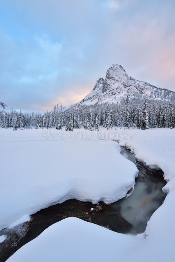 Early Winter Snow Covered Liberty Bell Mountain royalty free stock photography