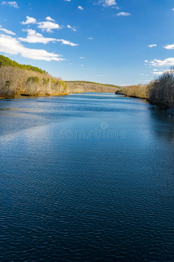 Early Winter View of the Roanoke River from Smith Mountain Dam. Located, in Bedford and Pittsylvania County, Virginia, USA royalty free stock image