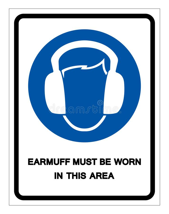 Earmuff Must Be Worn In This Area Symbol Sign ,Vector Illustration, Isolate On White Background Label. EPS10 stock illustration