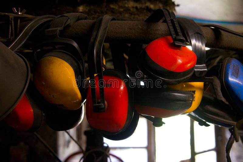 Earmuffs for noise protection. Selection of earmuffs for noise protection in smithery, franconia, Germany stock image