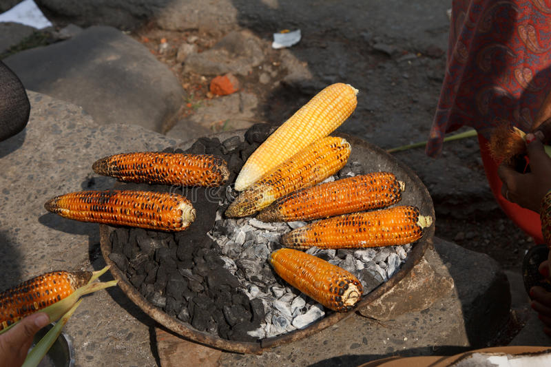 Earn Of Corn Being Roasted Stock Photography