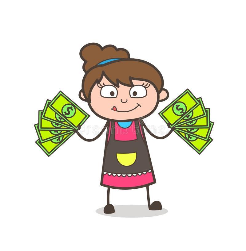 Earn Extra Money - Beautician Girl Artist Cartoon Vector royalty free illustration