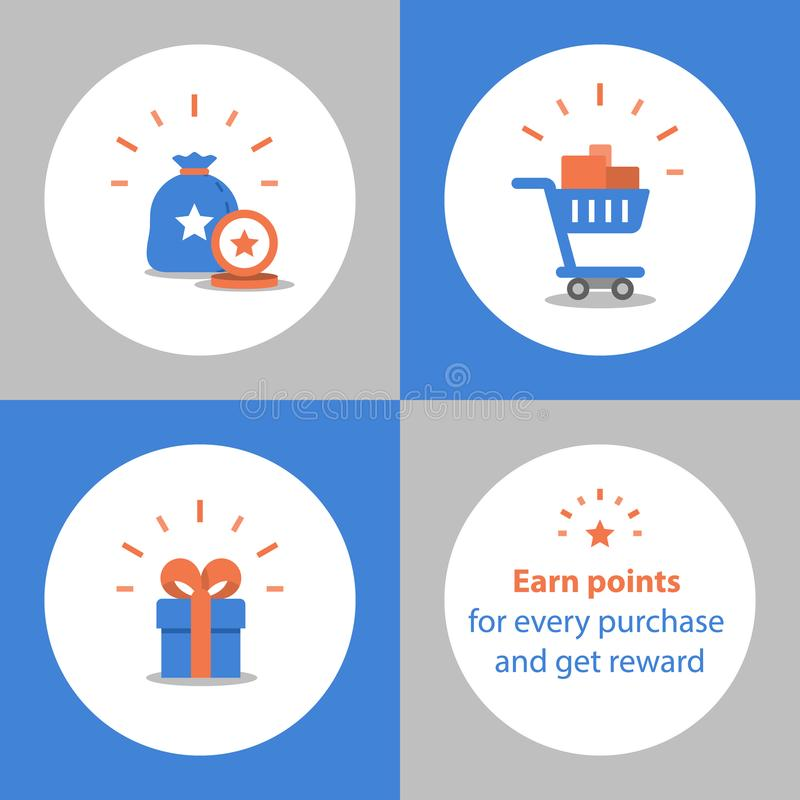 Earn points for purchase, loyalty program, reward concept, full shopping cart, redeem gift stock illustration