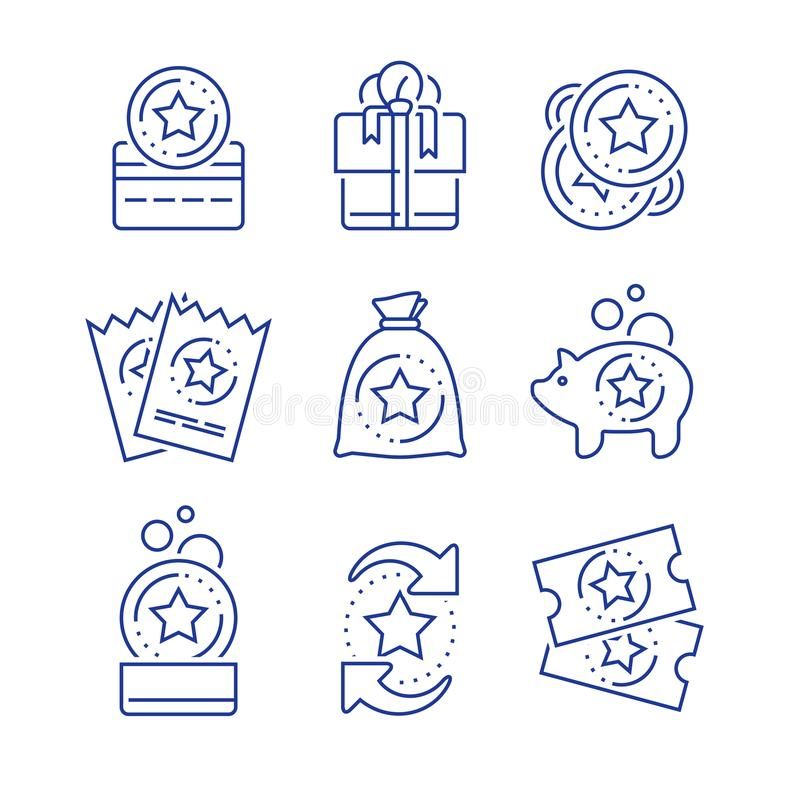 Earn reward, loyalty incentives, bonus card, redeem gift, discount coupon, collect coins, win present, lottery ticket, line icon stock illustration