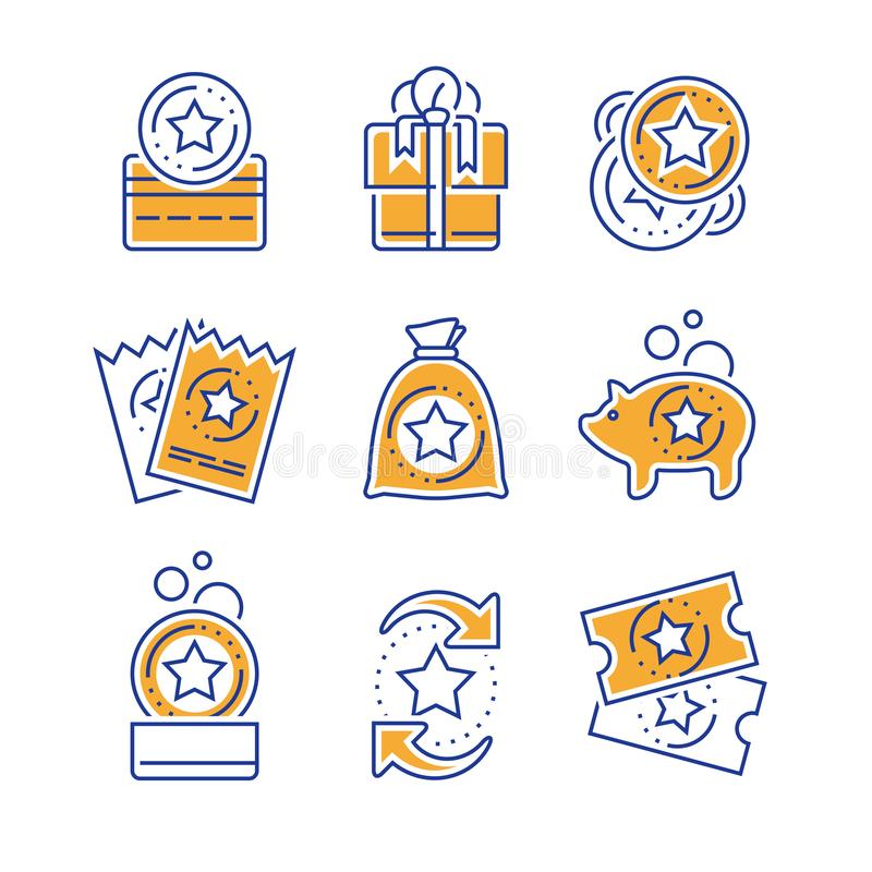 Earn reward, loyalty incentives, bonus card, redeem gift, discount coupon, collect coins, win present, lottery ticket, line icon. Loyalty incentives, bonus card stock illustration