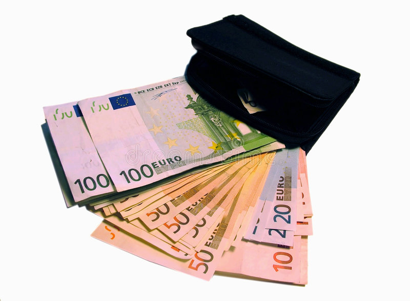 Earn Together With Us! (Purse And Cash) 1 Stock Photography
