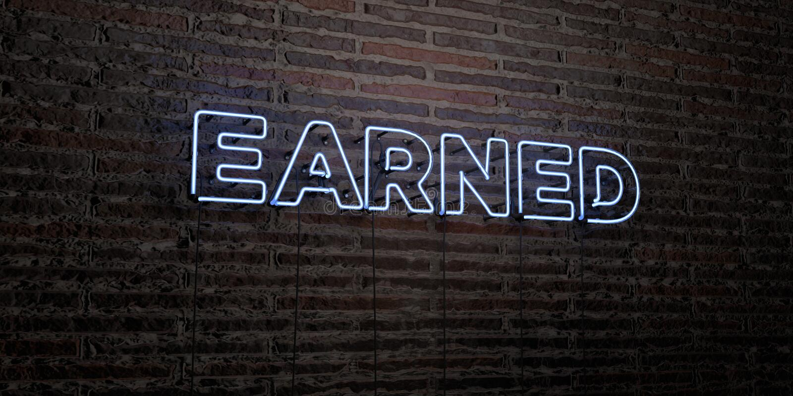 EARNED -Realistic Neon Sign on Brick Wall background - 3D rendered royalty free stock image stock illustration