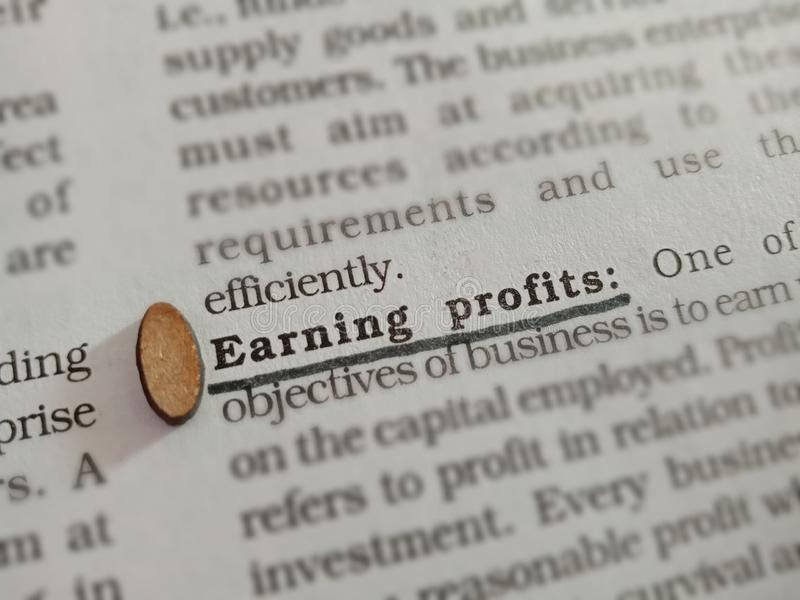 Earning profits business related terminology displayed on paper page royalty free stock photos