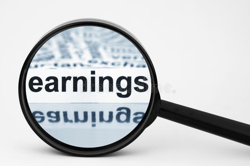 Earnings. A Close up of Earnings stock image