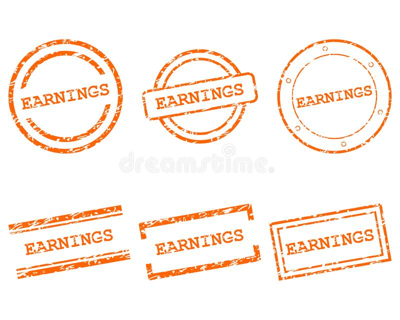 Earnings stamps. As vector illustration stock illustration