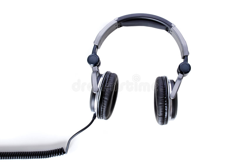 Earphone. On the white background - from top view stock photography