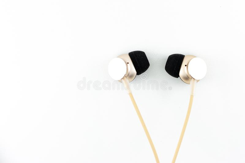 Earphone. Audio tools earphone white background royalty free stock images