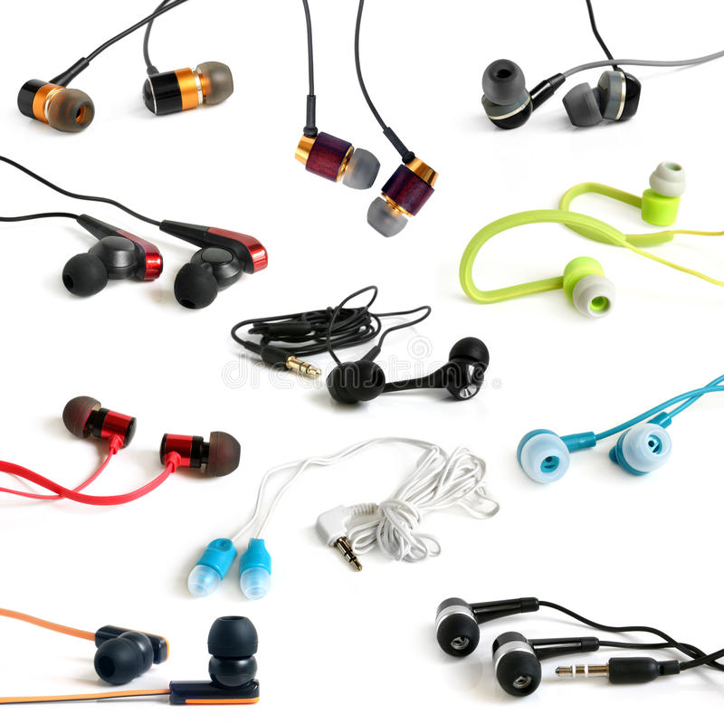 Earphones collection royalty free stock photography