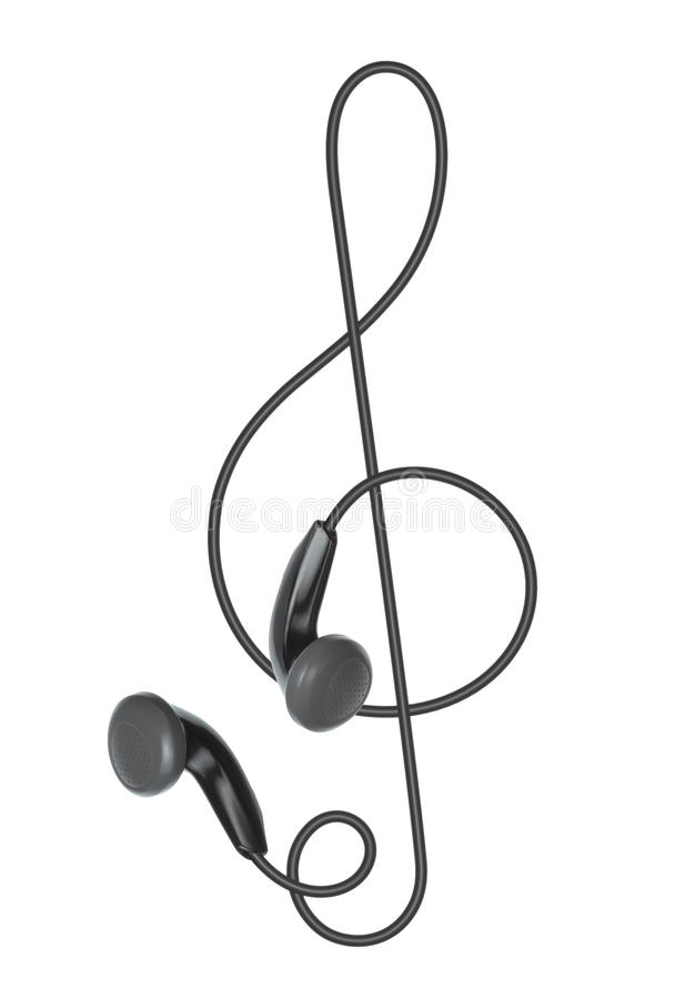 Download Earphones In The Form Of Treble Clef Stock Photo - Image of melody, white: 19855566