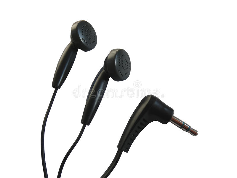Earphones and Mini Jack Plug Phone Connector stock photos
