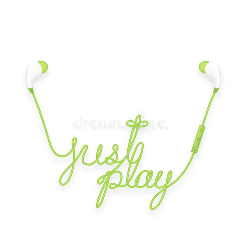 Earphones wireless and remote, In Ear type green color and just play text made from cable vector illustration