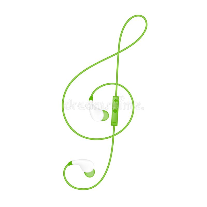 Earphones wireless and remote, In Ear type green color and Treble Clef shape made from cable stock illustration