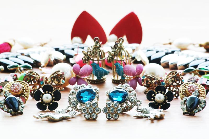 Earring. And accessories for women stock images