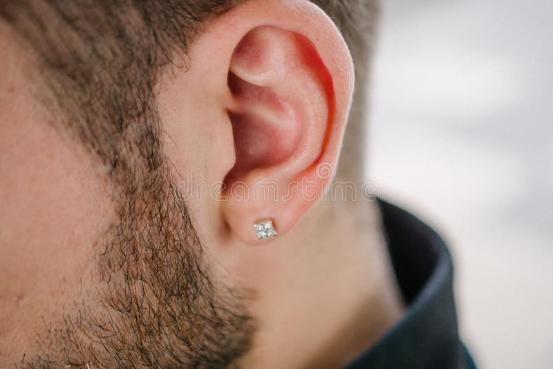 Earring in the male ear. Piercing Part of the body. Young man stock image