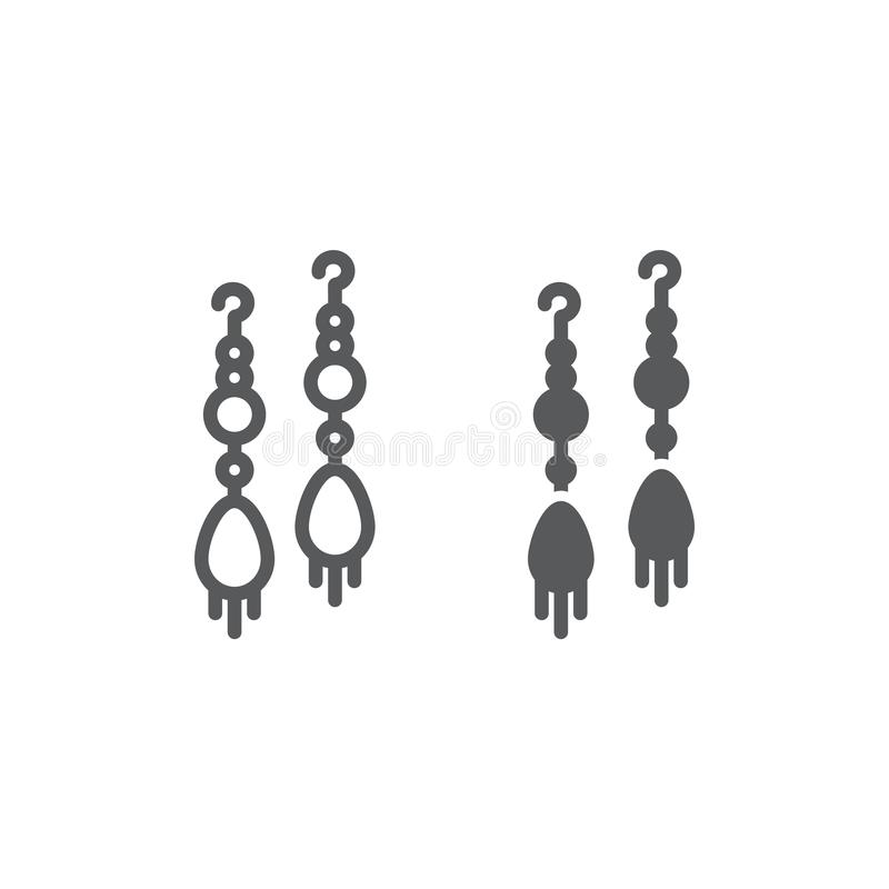 Earring pair line and glyph icon, jewellery and accessory, long earrings sign, vector graphics, a linear pattern on a vector illustration