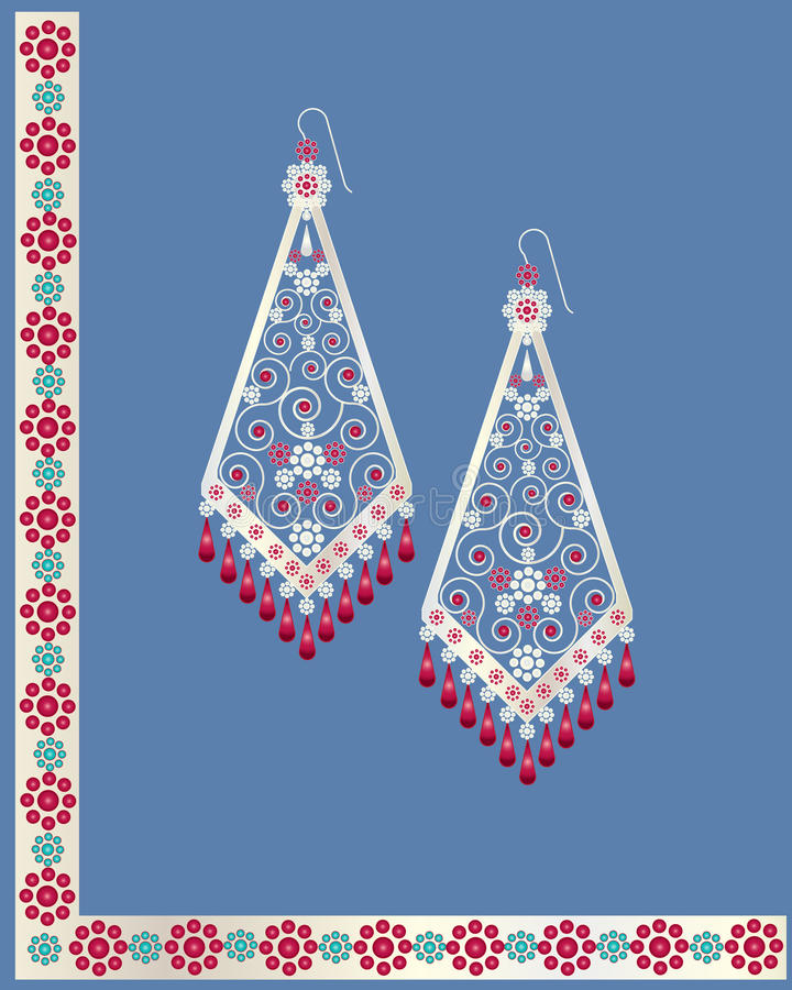 Earrings. An illustration of a pair of decorative earrings with ruby and gold stones and flowers vector illustration