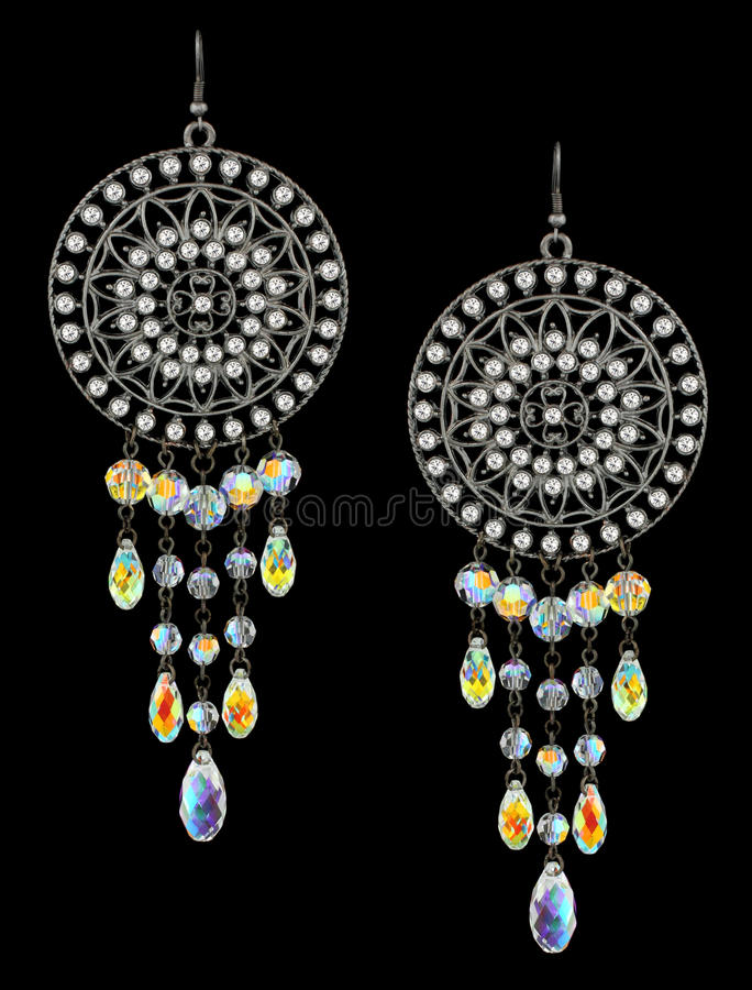Earrings with gems royalty free stock image