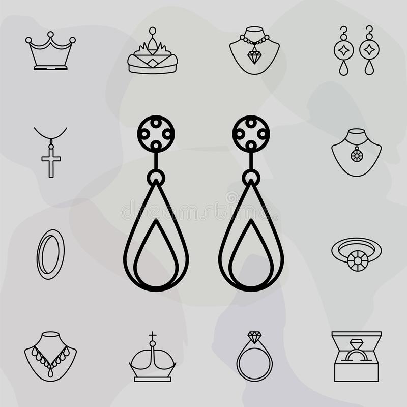 Earrings icon. Universal set of jewelry for website design and development, app development. On colored background vector illustration