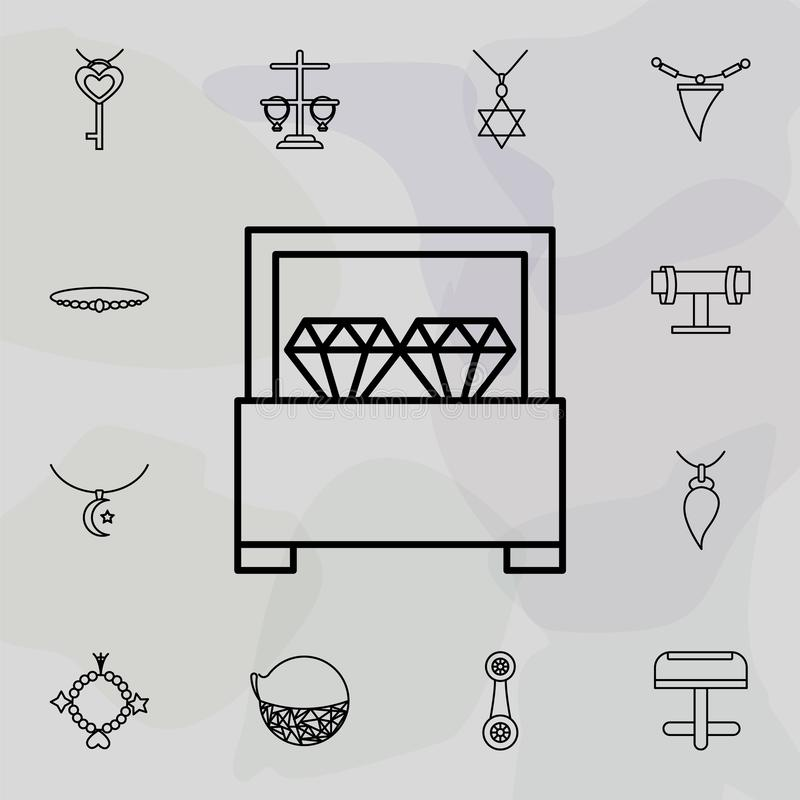 Earrings icon. Universal set of jewelry for website design and development, app development. On colored background stock illustration